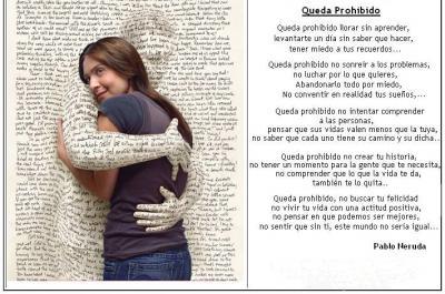 poema amb abraçada